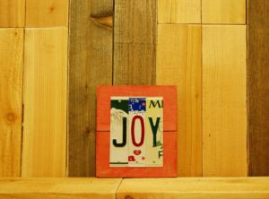 JOY License Plate Sign