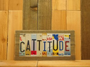 CATTITUDE License Plate Sign