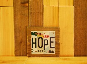 HOPE License Plate Sign