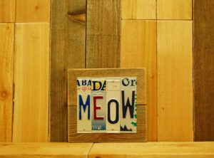 MEOW License Plate Sign