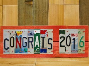 CONGRATS 2016 License Plate Sign