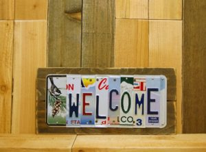 WELCOME License Plate Sign
