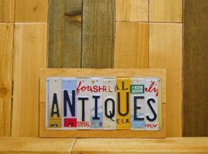 ANTIQUES  License Plate Sign