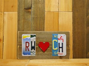 CUSTOM Initials and Heart License Plate Sign